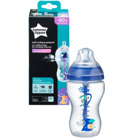 Tommee Tippee Шише за хранене ANTI-COLIC+ 340 ml 3м+ синьо с декорация
