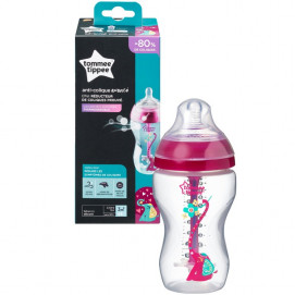 Tommee Tippee Шише за хранене ANTI-COLIC+ 340 ml 3м+ розово с декорация