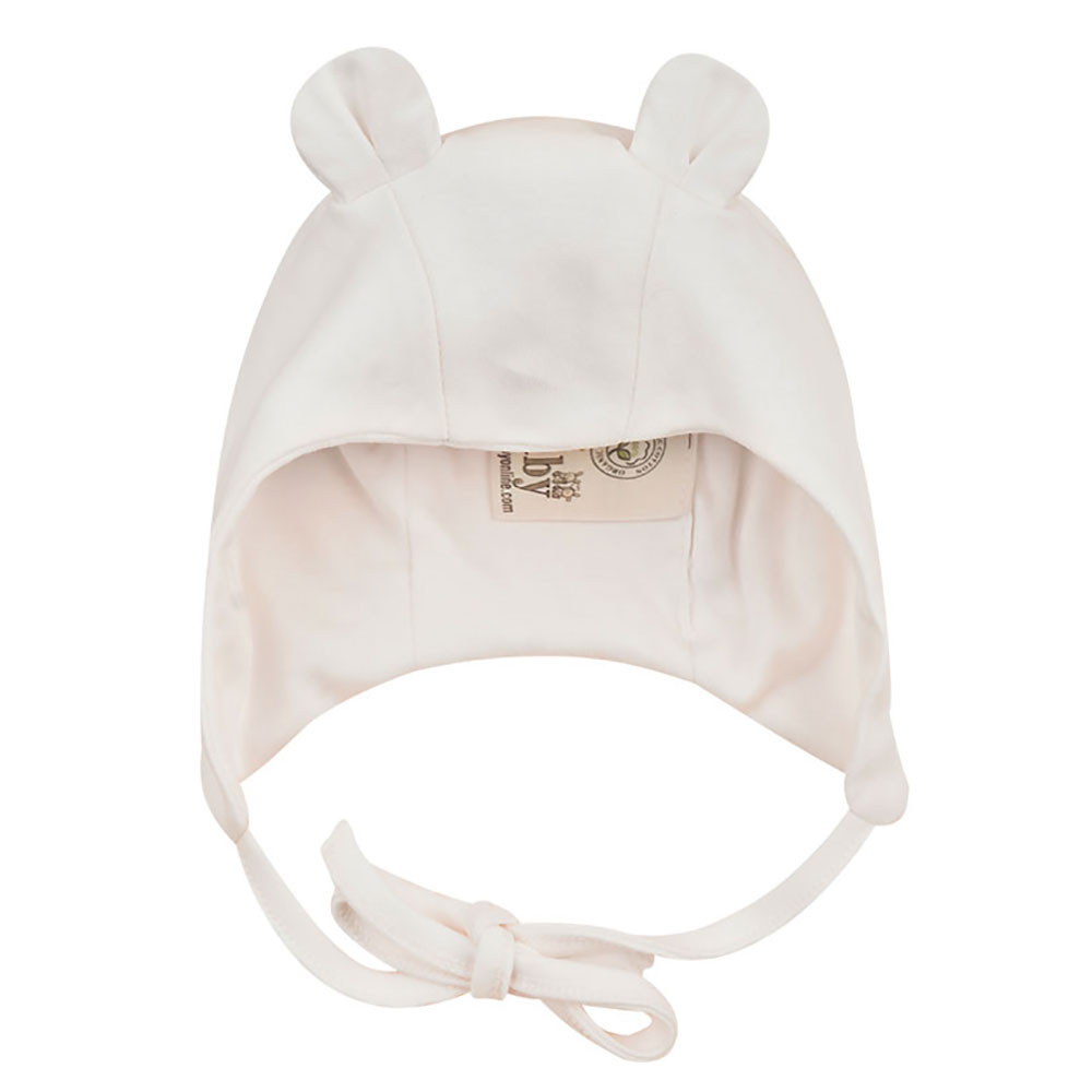 0e14987a5 Organic cotton baby hat with bear ears Ecru