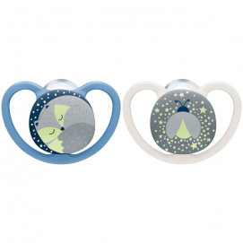 Nuk Luminous silicone pacifiers 6-18m SPACE NIGHT with sterilization box 2 pcs