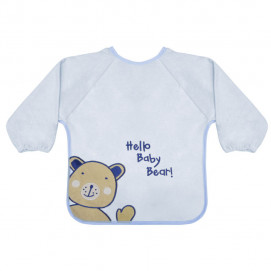 Lorelli Bib with sleeves - embroidery Bear Blue