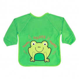Lorelli Bib with sleeves - embroidery Frog Green