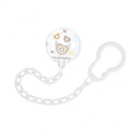 Canpol Clip Pacifier with chain Newborn Baby white