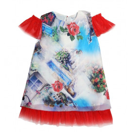 Alma Modern red dress with roses 9-30m.