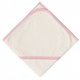 Bio Baby Double diaper with hood trimmed with a crochet hook Pink