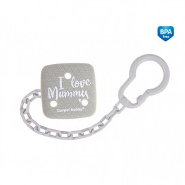 Canpol Clip Pacifier with chain I LOVE MUMMY Grey