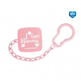 Canpol Clip Pacifier with chain I LOVE MUMMY Pink