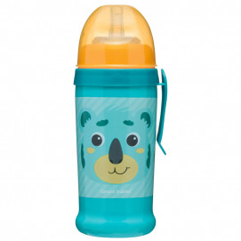 Canpol Non-spill Sport Cup with Silicon Straw 350ml HELLO LITTLE turquoise