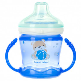 Canpol Non-spill Cup Silicon Spout 180ml SWEET FUN Blue