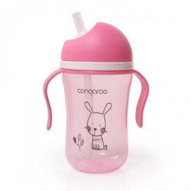 Cangaroo Plastic cup 300 ml with silicone straw 6m+ Pink