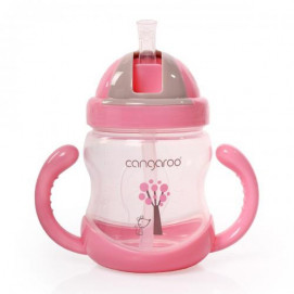Cangaroo Plastic cup with a straw 280m 6m+ Pink