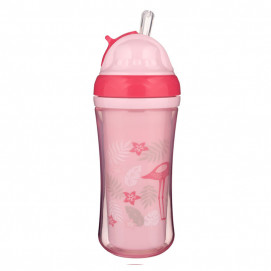 Canpol Sport Cup with Silicon Flip Top Straw 260ml Flamingo
