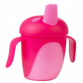 Canpol Non-spill Cup with Hard Spout 240ml TROPICAL BIRD Pink