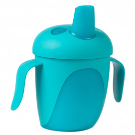 Canpol Non-spill Cup with Hard Spout 240ml TROPICAL BIRD Blue
