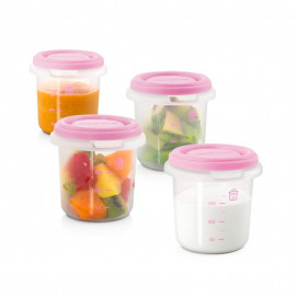 Miniland Set 4 containers 250 ml for food storage Pink 89239