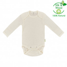 Bio Baby Baby body with e. sleeve made of merino wool and silk (from 56 to 92 cm)