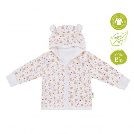 Bio Baby Baby jacket organic cotton hooded Ecru with print