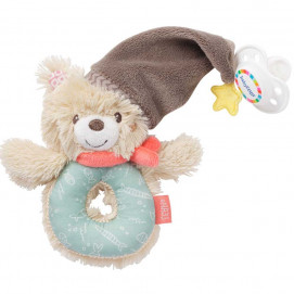 babyFehn Soft ring rattle bear with pacifier ring