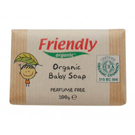 Friendly Organic Baby soap with shea butter and sweet almond 100 grams.