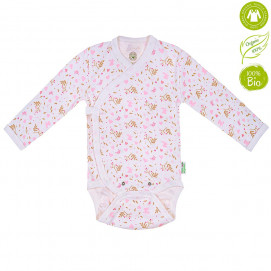 Bio Baby Baby bodysuits with long sleeves with Pink print (50 to 74 cm)