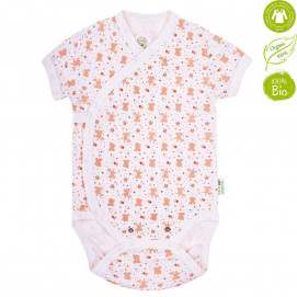 Bio Baby Baby bodysuits with short sleeves with Beige print (50 to 74 cm)