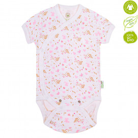 Bio Baby Baby bodysuits with short sleeves with Pink print (50 to 74 cm)
