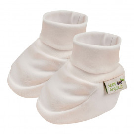 Bio Baby Organic cotton newborn baby booties - double jersey Ecru