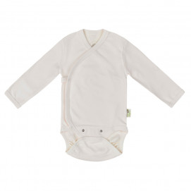 Bio Baby Baby bodysuits with long sleeves wrap style Ecru