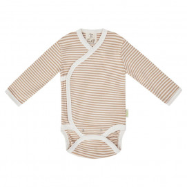 Bio Baby Baby bodysuits with long sleeves wrap style Brown striped