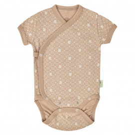 Bio Baby Baby bodysuits with short sleeves wrap style Brown with print