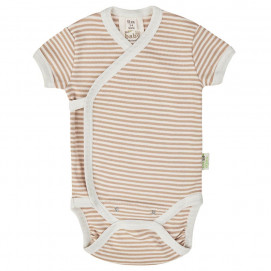 Bio Baby Baby bodysuits with short sleeves wrap style Brown striped
