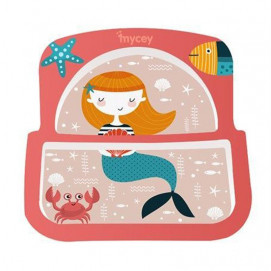 Mycey Melamine saucer for eating with two compartments girls