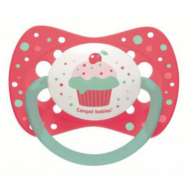 Canpol Silicone symmetrical soother Cupcake 6-18 m. pink