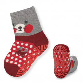 Sterntaler Socks with silicone sole red