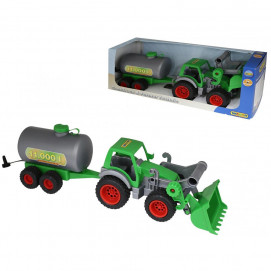 Polesie Tractor with paddle and tank green