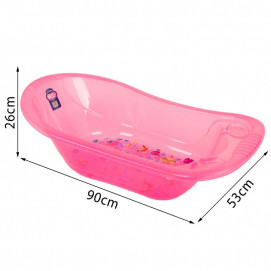 Sevi bebe Baby bath with drain outlet Sea animals Pink