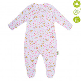 Bio Baby Baby Overalls with pink print (50 to 74 cm)