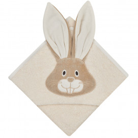 Bio Baby Baby bathrobe with bunny of 100% organic cotton Beige