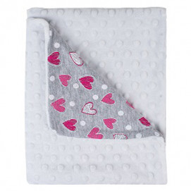 Bubaba Baby two-layer blanket grey whit pink hearts 65х90sm