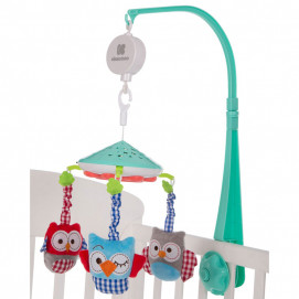 Kikkaboo Music carousel with projector OWLS Mint