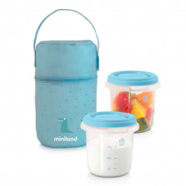 Miniland Set 2 containers with thermal bag Pack-2-Go Light blue 89246