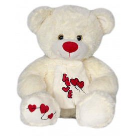 Aмек Toys Bear with scarf hearts white 60 cm.