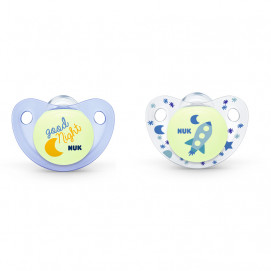 Nuk Pacifier silicone 0-6m. Night / Day 2 pcs for boy