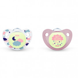 Nuk Pacifier silicone 0-6m. Night / Day 2 pcs for girl