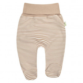 Bio Baby Organic baby footed pants harem style Brown striped