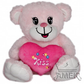 Aмек Toys Bear with heart Kiss 58 cm. Pink