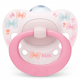 Nuk Silicone pacifiers 0-6m SIGNATURE with sterilization box Pink