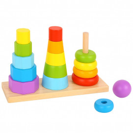 TOOKY TOY Wooden toy for stringing Pyramids 3in1