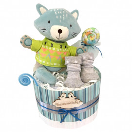 Alma Diaper cake small CAT Blue