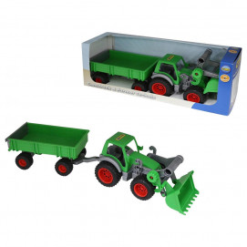 Polesie Tractor with paddle and trailer green